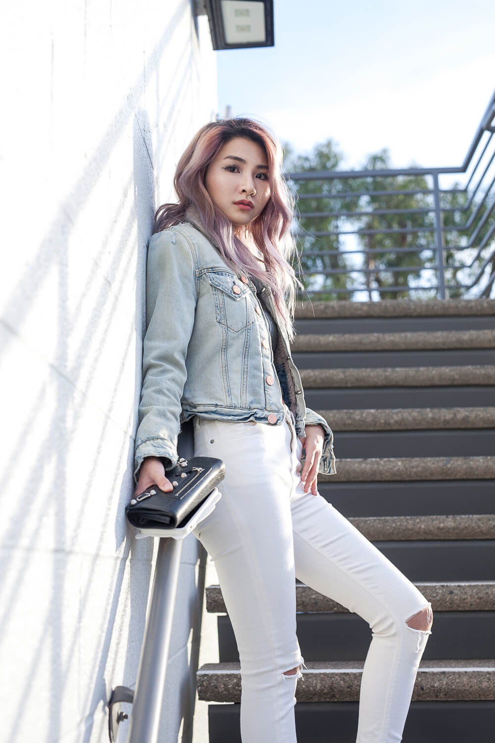 White Jeans and Acne Studios Denim Jacket | Atsuna Matsui