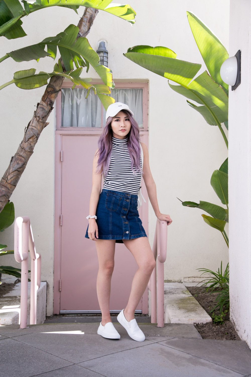 Stripe Top and Denim Button Up Skirt | Atsuna Matsui